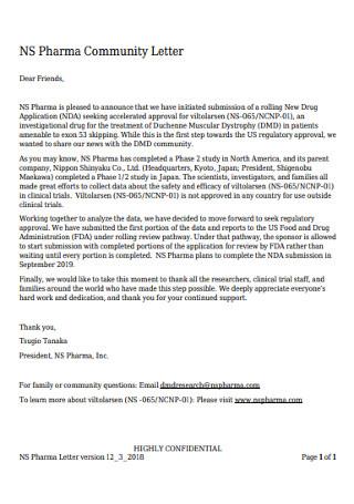 Pharma Community Letter