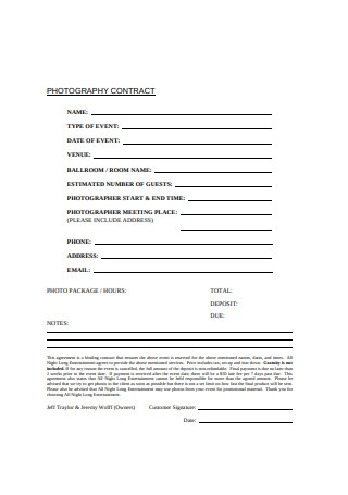 Photography Contract Format