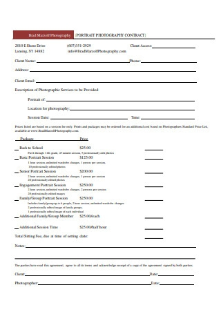 Photography Portrait Contract Format
