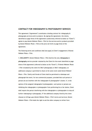 Photography Services Contract Format