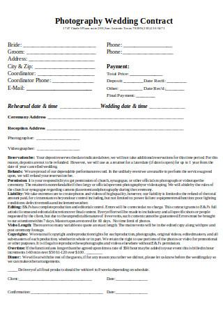 Photography Wedding Contract