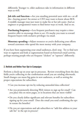 Practical Guide to Email Marketing Sample