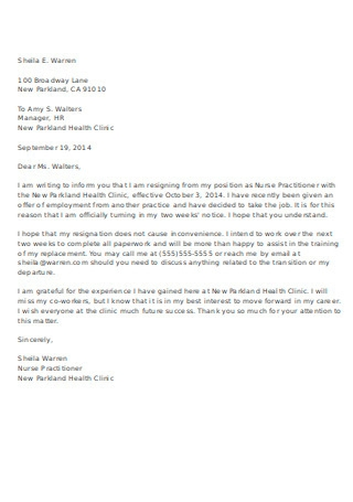 Practitioner Nurse Resignation Letter