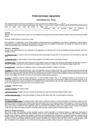 Preferred Dealer Agreement