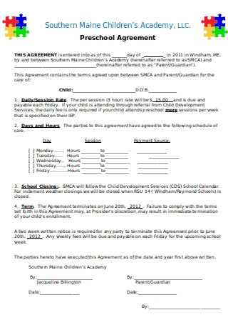 Preschool Agreement