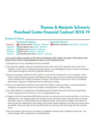 Preschool Financial Contract