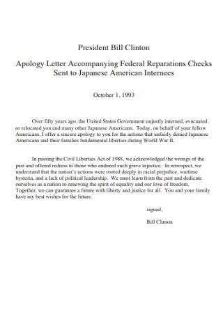 President Apology Letter