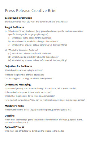 Press Release Creative Brief Template