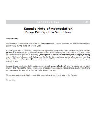 Principal Letter of Appreciation