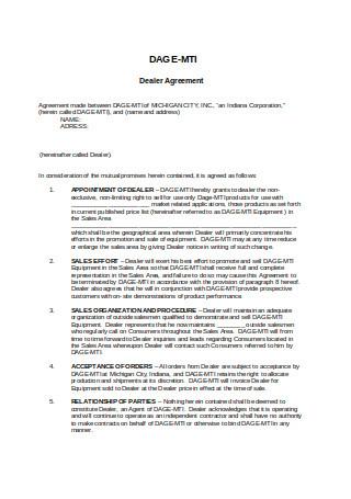 Printable Dealer Agreement