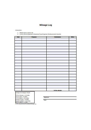 Printable Mileage Log Format