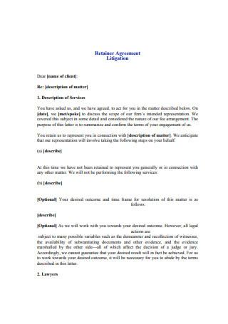 Printable Retainer Agreement Example