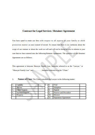 Printable Retainer Agreement