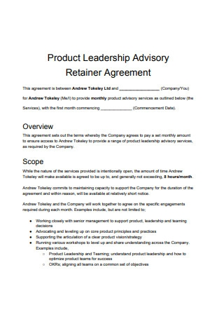 Product Advisory Retainer Agreement