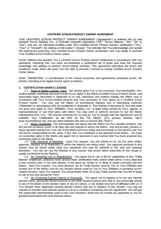 Product Owner Agreement
