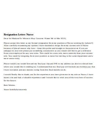 Professional Nursing Resignation Letter