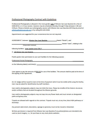 Professional Photography Contract