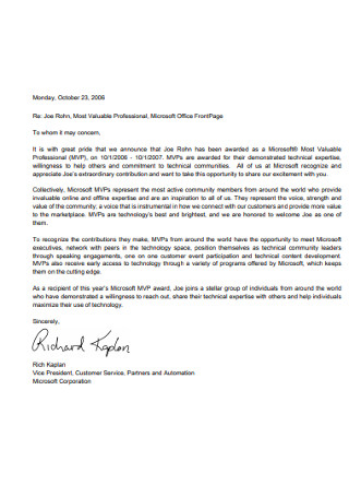 Professional Recognition Letter