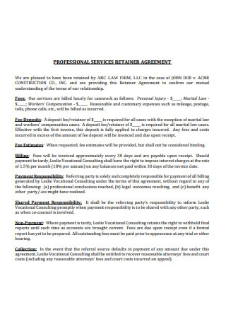 Professional Services Retainer Agreement Format