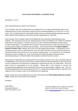 Professional Sponsorship Letter