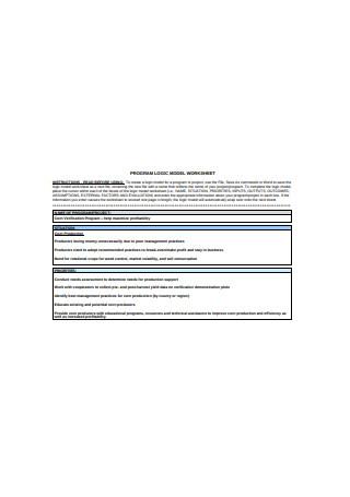 Program Logic Model Worksheet
