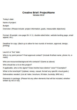 Project Creative Brief Template