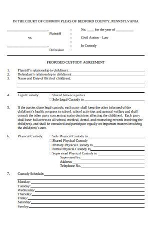 Proposed Custody Agreement