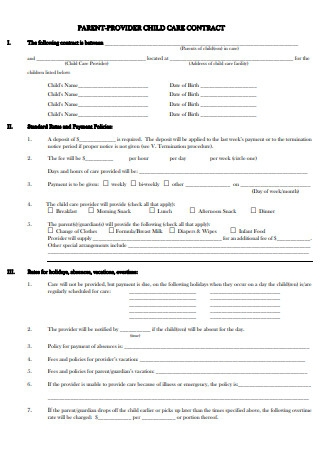 Provider Parent Child Care Agreement Sample