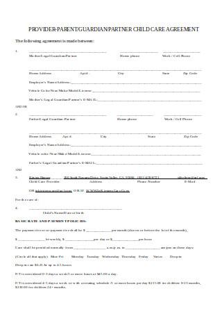 Provider Parent Child Care Agreement