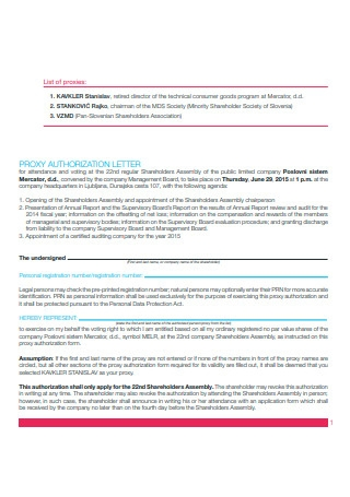 Proxy Authorization Letter
