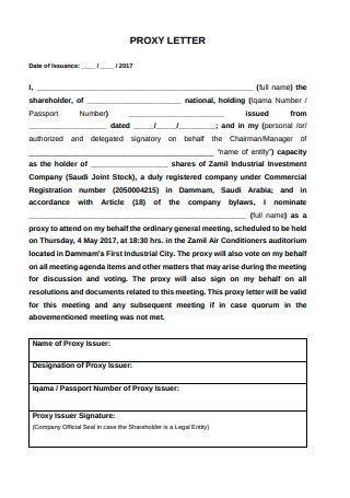 Proxy Letter AGM