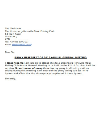 Proxy Letter for AGM