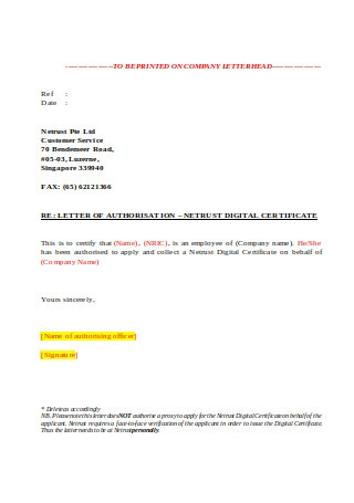 Proxy Letter of Authorization