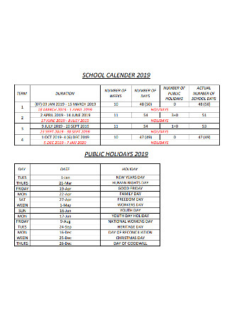 Public Holidayes Calendar