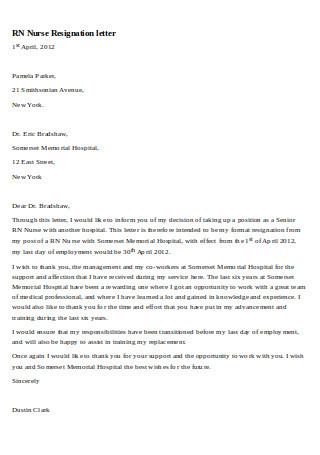 RN Nurse Resignation Letter
