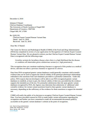 Recognition Decision Letter
