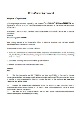 Recruitment Agency Agreement