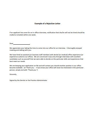 Rejection Letter Example
