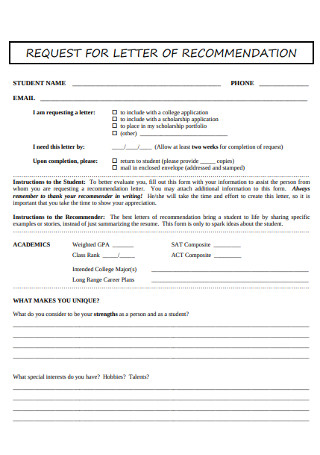 Request for College Recommendation Letter