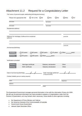 Request for Congratulatory Letter