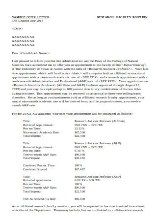 Research Professor Collaboration Letter