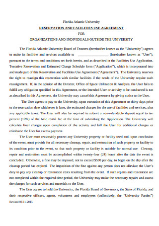Reservation and Facilities Agreement