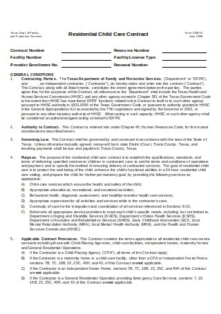 Residential Child Care Contract