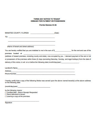 Residential Eviction Notice Form