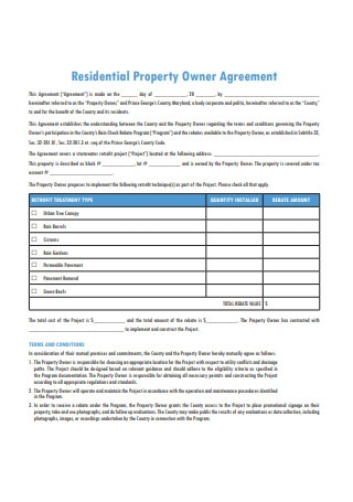 Residential Property Owner Agreement