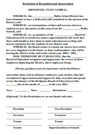 Resolution of Recognition and Appreciation Letter