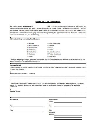 Retail Dealer Agreement