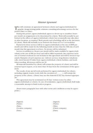 Retainer Agreement Sample