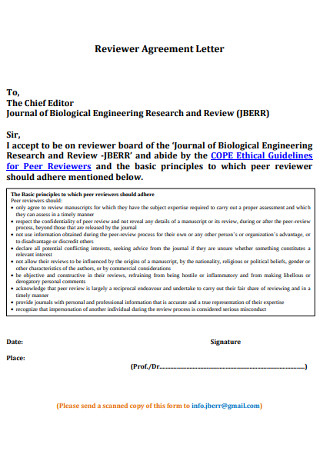 Reviewer Agreement Letter