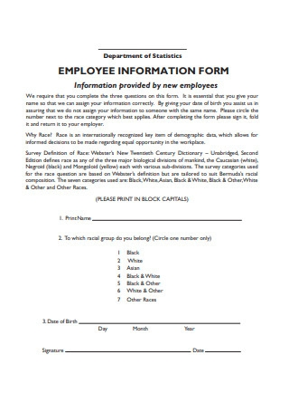 Revised Employee Information Form